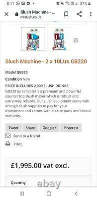 1x Slush machine used sencotel gb220 Slush Machine 2 x 10 litre 650watts