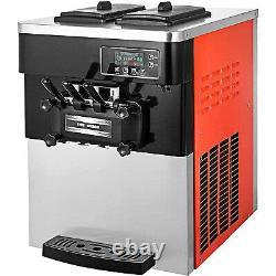 20-28L/H 2200W Commercial Soft Ice Cream Machine 3 Flavors Countertop Snack Shop