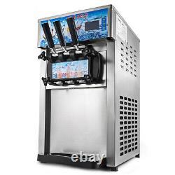 220V Commercial Soft Ice Cream Machine 3 Flavors Frozen Yogurt Cone Maker UK
