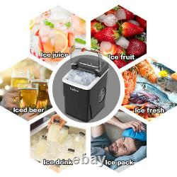 2L Ice Maker Machine Automatic Electric Ice Cube Maker Countertop 12KG/24H Black