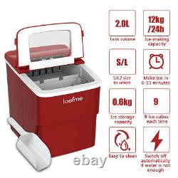 2L Red Ice Maker Machine Automatic Electric Ice Cube Maker Countertop 12KG/24H