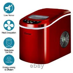 2.2L Automatic Electric Ice Cube Maker Machine Counter Top Cocktails Drink Red