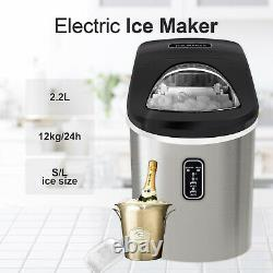 2.2L Quick Ice Making Machine Countertop Ice Cube Maker Portable Stainless Steel