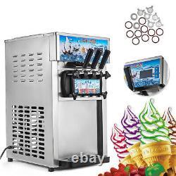 3 Flavors Soft Ice Cream Cones Machine Maker Frozen Yogurt Cone Commercial CE