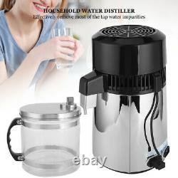 4L 750W Countertop Water Distiller Stainless Steel Distilling Pure Water Machine