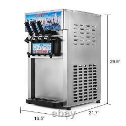 Commercial 220V Soft Ice Cream Machine 3 Flavors Frozen Yogurt Cone Maker EU
