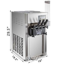 Commercial 3 Flavors Soft Ice Cream Machine Countertop LCD Panel One-Click Clean