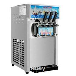 Commercial Soft Serve Ice Cream Machine 3 Flavors 18L/H Ice Cream Maker SS