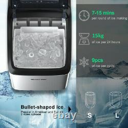 Countertop Ice Maker Portable Ice Cube Making Machine 15KG/24H Home Office Bar
