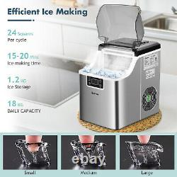Countertop Ice Maker Portable Ice Cube Making Machine 18KG/24H Home Office Bar