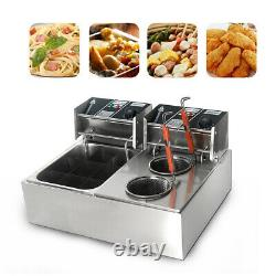 Electric Noodle Pasta Cooking Machine Countertop Deep Fryer Double Cylinder