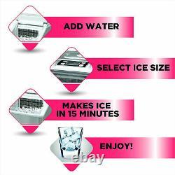 Frigidaire Portable Kitchen Countertop Ice Cube Maker Dispenser Machine, Silver