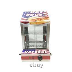 Hot Dog Steamer Commercial Electric Hotdog Machine Glass Doors & Bun Warmer Disp