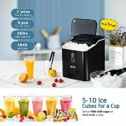 IKICH Automatic Electric Ice Cube Maker Machine Counter Top with Ice Scoop 26lbs