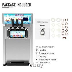 Ice Cream Machine 3 Flavors 18L/H Ice Cream Commercial Soft Serve Maker SS