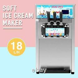Ice Cream Machine 3 Flavors 18L/H Ice Cream Maker SS Commercial Soft Serve