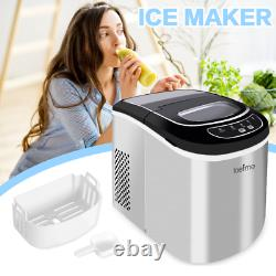 Ice Machine LCD Countertop Ice Cube Maker Home withSelf-cleaning 26lbs/24H Quietly