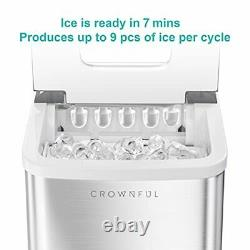 Ice Maker Machine for Countertop 9 Ice Cubes Ready in 7 Minutes 26lbs Bullet Ice
