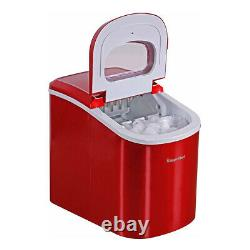 Magic Chef MCIM22R Portable Countertop 27lb Ice Maker Machine, Stainless Steel