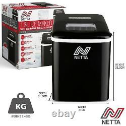 NETTA Black Automatic Countertop Ice Cube Maker Machine No Plumbing Required
