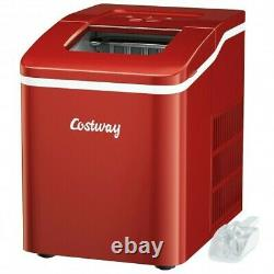 Portable Countertop Ice Maker Machine with Scoop-Red Color Red