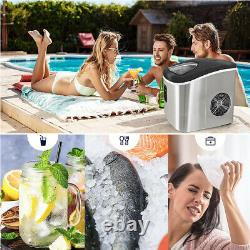 Portable Stainless Steel Ice Maker Machine Countertop 12KG/24H 2.2L withIce Scoop