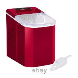 Red Countertop Ice Maker Machine with Ice Scoop & Basket for Home Kitchen Bar 1.5L