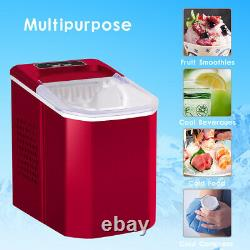 Red Ice Machine Portable Counter Top Home Ice Cube Maker for Home Kitchen UK