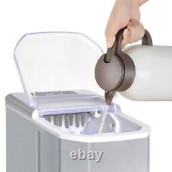 Silver Ice Machine Portable Counter Top Home Ice Cube Maker for Home Kitchen UK