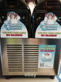 SnowShock Twin Tank Slush Machine good condition with cups, straws included