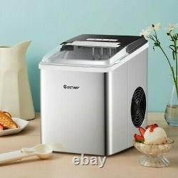 Stainless Steel 26 lbs/24 H Self-Clean Countertop Ice Maker Machine