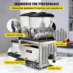 VEVOR Commercial Double Bowl Slush Machine Frozen Drink Machine 2x15L 1000W