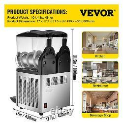 VEVOR Commercial Slush Machine Margarita Slush Maker 2x15L Frozen Drink Machine
