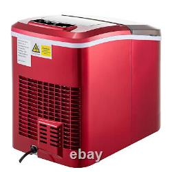 VEVOR Counter Top Ice Maker Machine Stainless Steel 2 Size 26 Ibs 2.4L Red